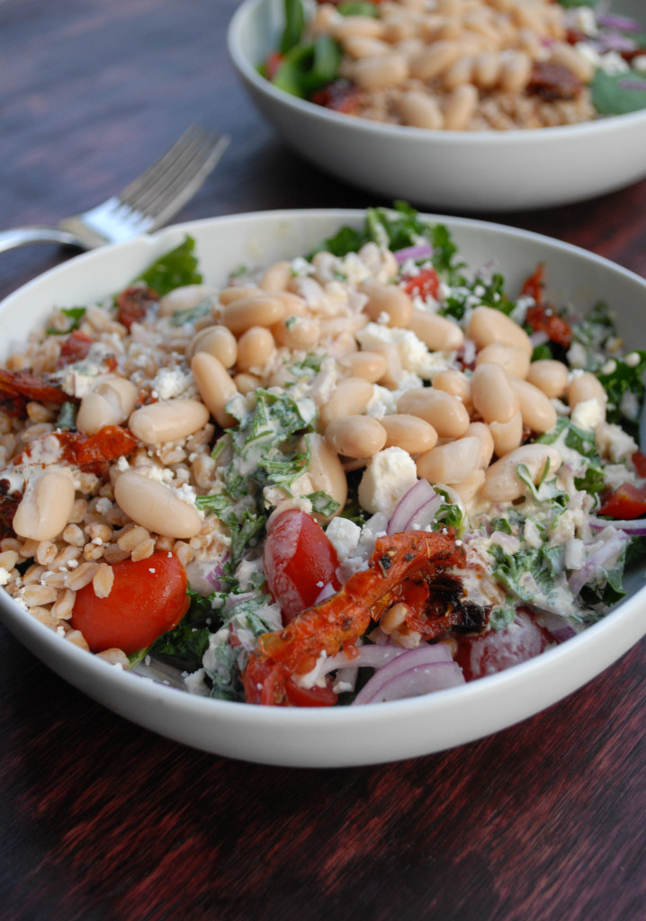 kale white bean and farro salad- from scratch stat